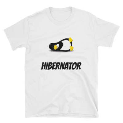"T-shirt printed with an illustration of a sleeping penguin and the word ""Hibernator"""