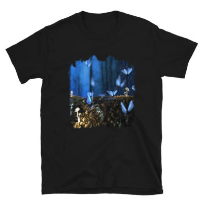 Butterflies In Blue Forest, Background Wallpaper T-Shirt